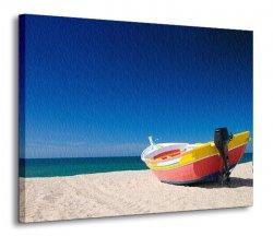 Obraz na ścianę - Kolorowa rybacka łódź - 120x90 cm