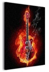 Obraz do salonu - Ognista gitara - 90x120cm