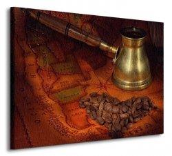 Coffee in a turk, grains and map - Obraz na płótnie