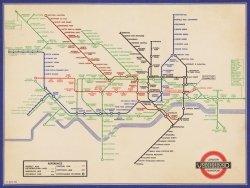 London Underground (Vintage 1936 Map) - reprodukcja