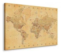 World Map - Vintage Style - Obraz na płótnie