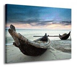 Obraz na ścianę - Stare łodzie, Wietnam - 90x120 cm