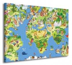 Obraz na płótnie - Mapa Świata dla Dziecka - 60x80cm