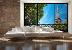 Fototapeta do salonu - Okno - Wieża Eiffela (window) - 366x254 cm