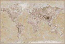 Fototapeta - Mapa Świata Vintage Light - 232x158cm