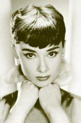 Audrey Hepburn (sepia) - plakat