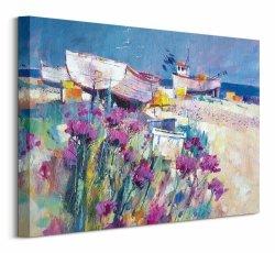 Boats and Beach Blooms - Obraz na płótnie