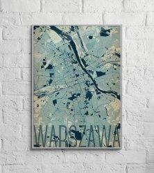 Plakat do salonu - Warszawa - Artystyczna mapa - 50x70 cm