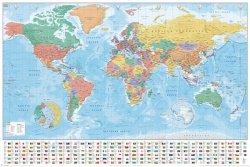 Plakat na ścianę - Mapa Świata i Flagi Państw - 61x91,5 cm