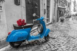 Niebieski Scooter Vespa - plakat