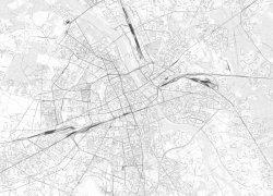 Fototapeta na ścianę  - Mapa miasta - Warszawa - czarno-biała