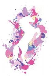Splatter Silhouette Unicorn - plakat