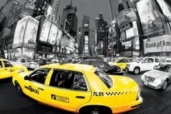 New York, Rush Hour Times Square (Yellow Cabs) - plakat