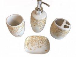 Komplet Łazienkowy - Złoty - Dozownik na mydło w płynie, kubek na szczoteczki, Kubek, Mydelniczka