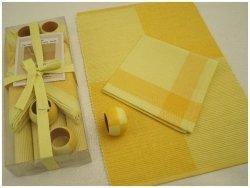 Podkładki na stół + Serwetki + Obrączki na serwetki x 4-szt - Żółte