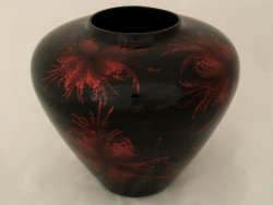 Wazon ceramiczny - Czarno-Czaerwony - 31x27,5cm