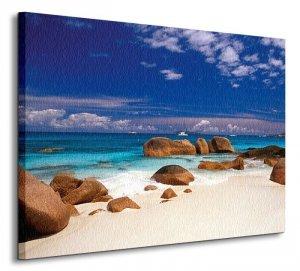 Seychelles, kamienie na plaży - Obraz na płótnie