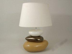 Lampa stołowa - Biało Beżowa - 40x27x57cm