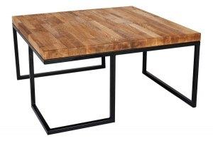 Stolik metalowy z drewnianym - Dębowy blat