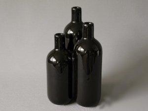 Wazon ceramiczny - Potrójny czarny - 16x16x29cm