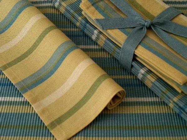 Podkładki na stół + Serwetki x 4-szt - Błękit, Beż, Zieleń i Biel