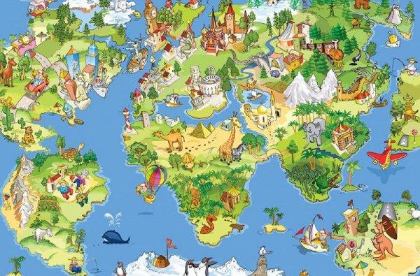 Fototapeta dla dzieci - Mapa Świata - 175x115 cm