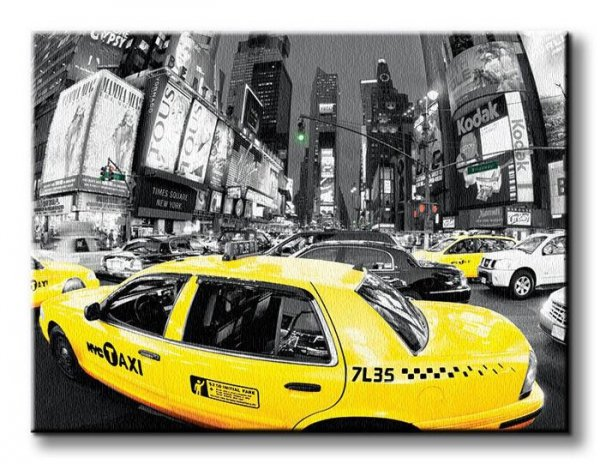 Rush Hour Times Square - Yellow Cabs - Obraz na płótnie