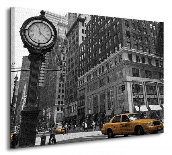 Zegar na Avenue, New York BW - Obraz na płótnie