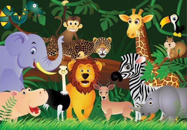 Fototapeta dla dzieci -  Dzikie zwierzaki - 366x254 cm