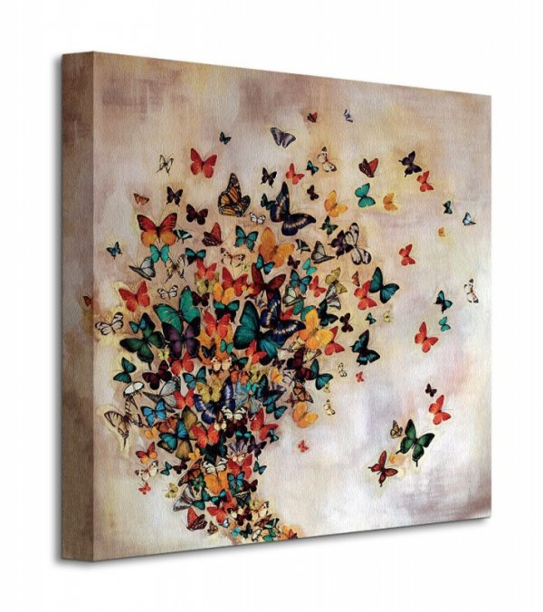 Obraz do salonu - Motyle - Butterflies On Pale Ochre