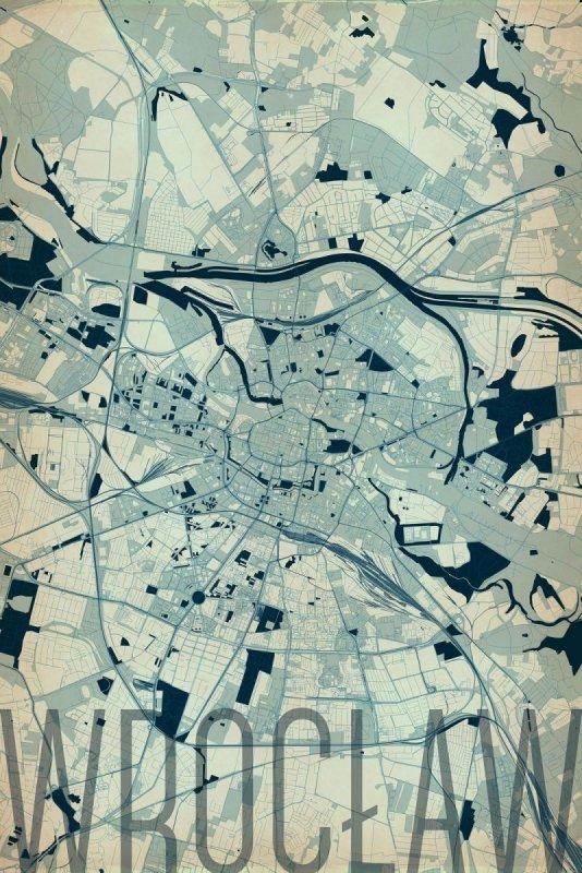 Plakat Na ścianę Wrocław Artystyczna Mapa 61x915 Cm