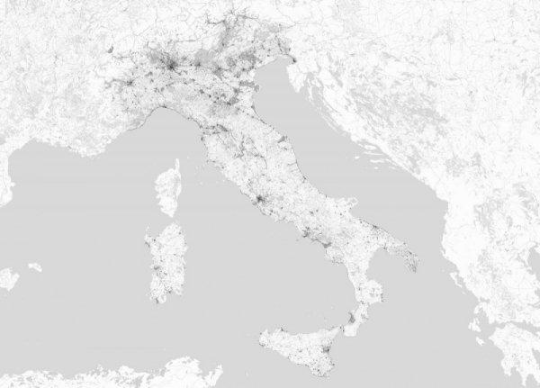 Włochy - Mapa czarno biała - Fototapeta Ścienna