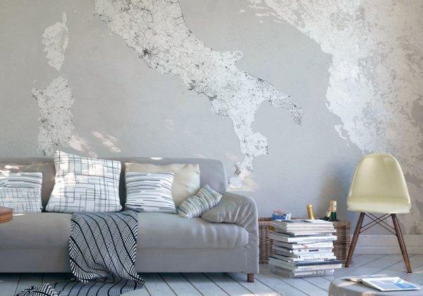 Włochy - Mapa czarno biała - Fototapeta