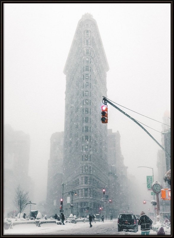 Flatiron in snow - plakat
