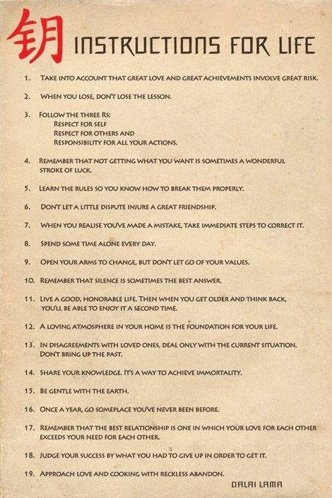 Instrukcja zycia (Dalai Lama ang.) - plakat