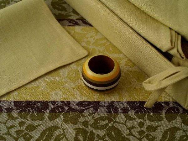 Podkładki na stół + Serwetki + Obrączki na serwetki x 6-szt - Złoto, Zieleń, Brąz