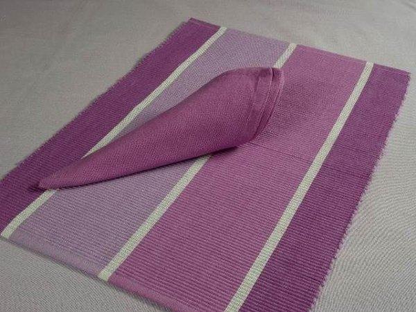 Podkładki na stół + Serwetki x 6-szt - Pastelowy Wrzos