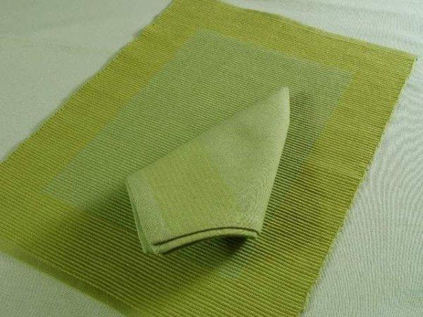 Podkładki na stół + Serwetki x 4-szt - Limonkowe 100% Bawełna