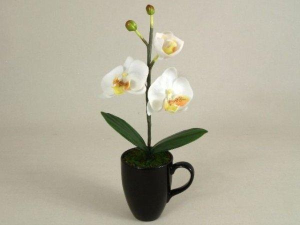 Sztuczny storczyk - Orchidea -  W kubku - Decoart24.pl