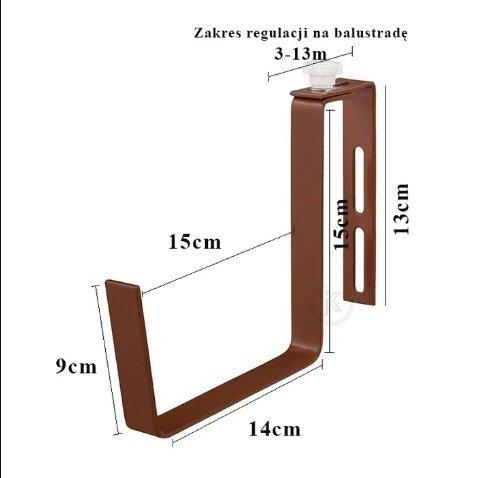 Uchwyt balkonowy na doniczkę -  regulowany 10szt.