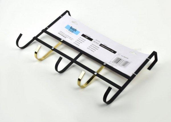 Wieszak łazienkowy - metalowy - Czarno złoty - 38x23cm - akcesoria i dodatki do łazienki - decoart24.pl