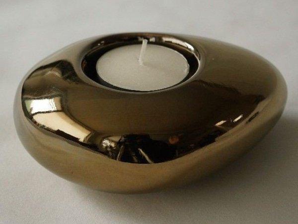 Świecznik - Złoty - Ceramiczny - 12cm