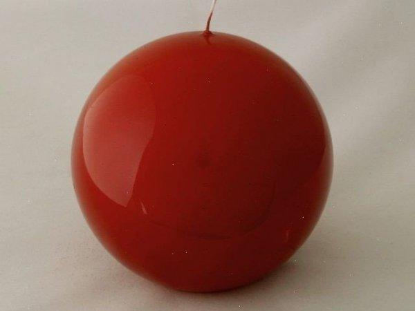 Świeca ozdobna - Kula - Czerwień lakierowana - 12cm