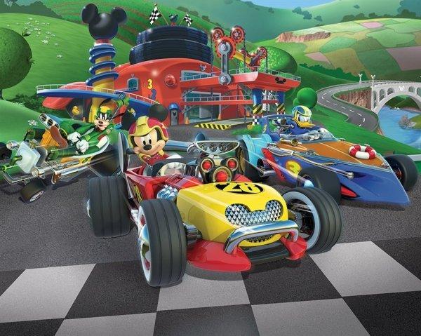 Fototapeta dla dzieci - Myszka Miki Racers- 3D - Walltastic - 244x305 cm - Dekoracje na ścianę - Sklep DecoArt24.pl