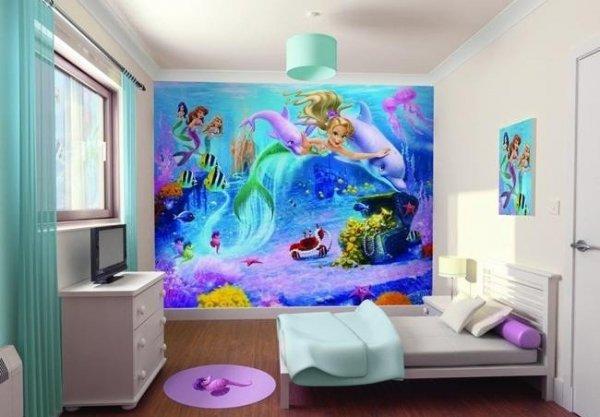 Fototapeta dla dzieci - Syrenki Disney - 3D - Walltastic KLEJ GRATIS