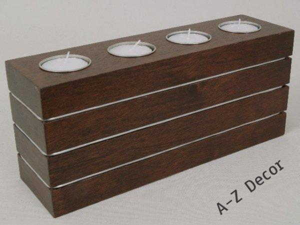 Świecznik - English brown - Drewniany - 26x7x11cm