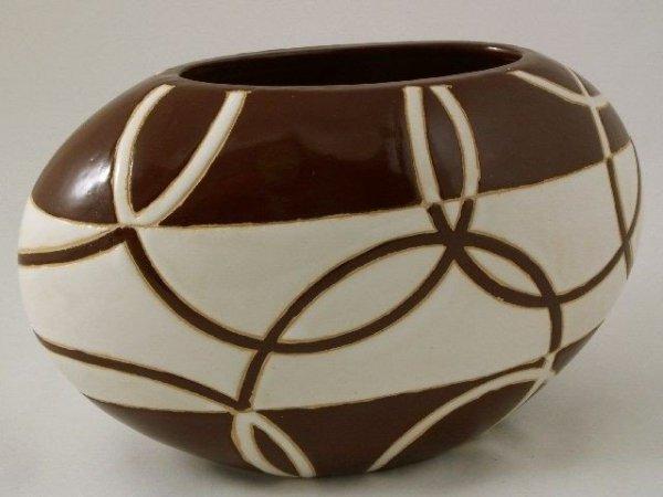 Wazon ceramiczny - Biel z brązem - 30x15x18cm