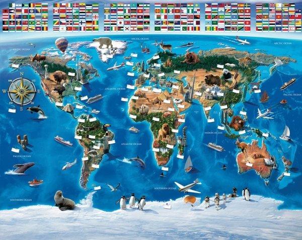 Fototapeta dla dzieci - Mapa świata - 3D - Walltastic
