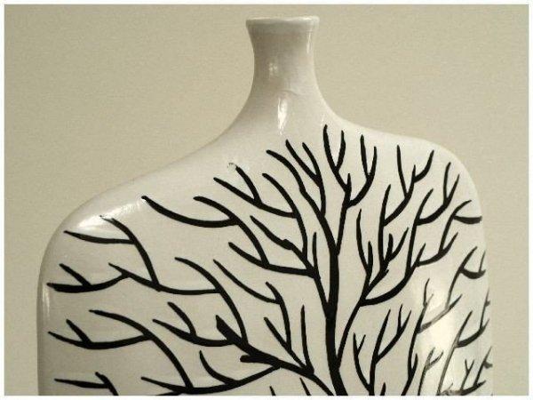 Wazon ceramiczny - Biały Drzewko - 32,5x12x42,5cm