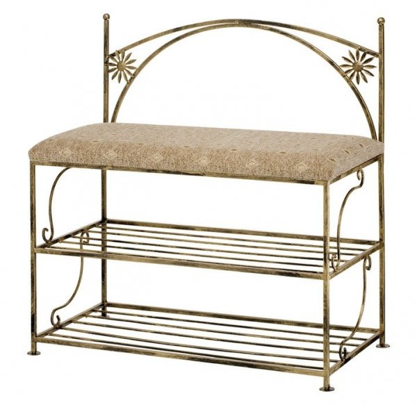 Metalowa półka na buty z miękkim siedziskiem - Meble